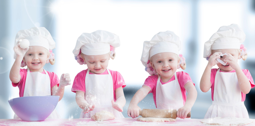 kids baking in kitchen