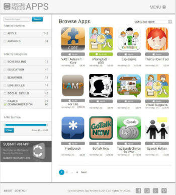 Special Needs Apps page