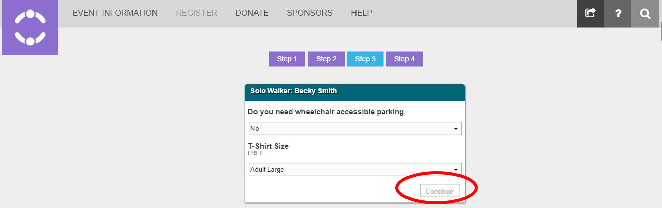 6- Fill in your shirt size and if you need handicap parking